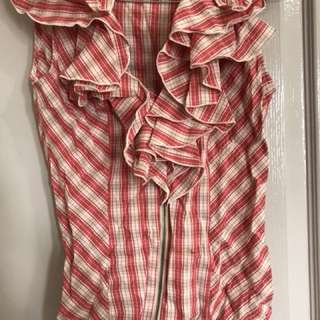 Cue Size 6 Checkered Ruffle Zip Top