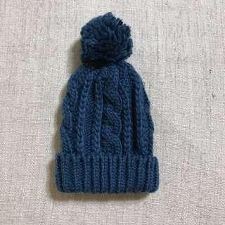 韓國製 藍色毛球毛帽