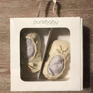 Purebaby Girls ballet shoes 3-6 months