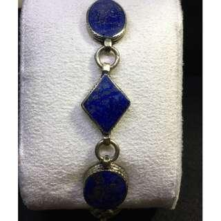 "1940""s Lapis Lazuli Bracelet sterling silver"