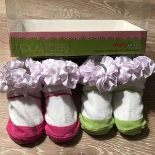 Tippy Toes Mary Jones Two Pairs Frilled Baby Socks 0-12months