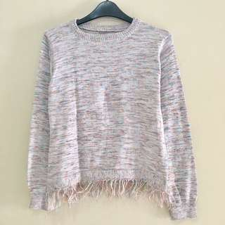 Rainbow Sweatshirt Fringe Pastel