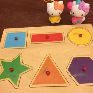 Wooden shapes and colors matching toy