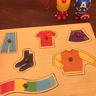 Wooden clothing matching toy