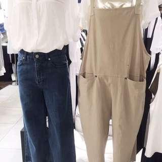 🚚 正韓薄寬版吊帶褲