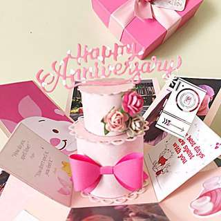 Piglet happy 1st Anniversary 3 Layers Explosion Box Card