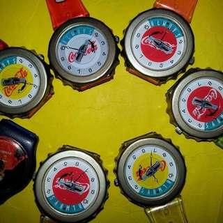 可口可樂手錶,倉存貨,要自行換電,不保証换電後正常可用,◆物品在倉,尋找須時◆ $30元一隻,老香港懷舊物品古董珍藏
