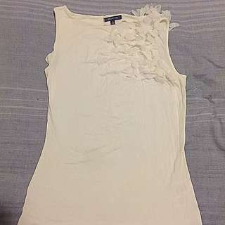 White Anne Klein sleeveless TOP with cute leaves design