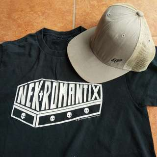 Trucker hat fox rider, bonus kaos band nekromantix originals