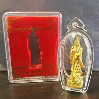 Wat Nok, LP Cher Golden Bodhisattvas Kuan Yin Looplor Nur Brass