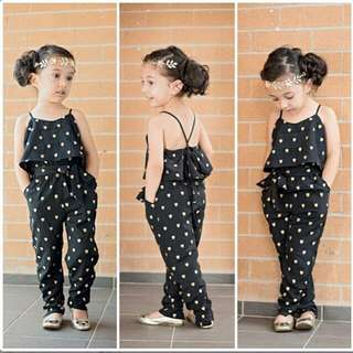 Sleeveless Polka Dot Strap Girls Jumpsuit
