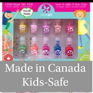 *READY STOCK* Non-toxic Kids-safe Award-Winning Children Friendly Water-Based Peelable Suncoat Girl Nail Polish Kit, Merry Mini/ Flare & Fancy / Party Palette, 10 Pieces
