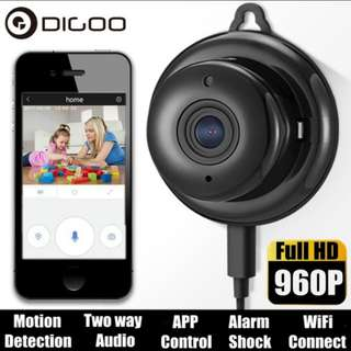 Digoo 960p Wireless WIFI Smart Usb IP Camera Baby Care Monitor Security Night Vision Audio Video Home Wall Hook Smart Home (Color: Black)