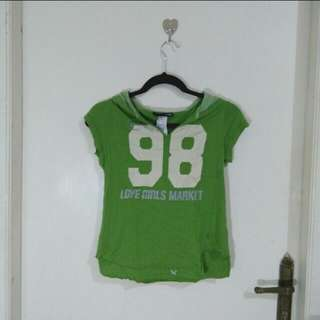 Kaos hijau dengan hoodie (cotton)