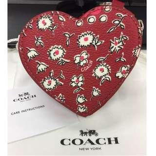 全新Coach紅色心型coin case