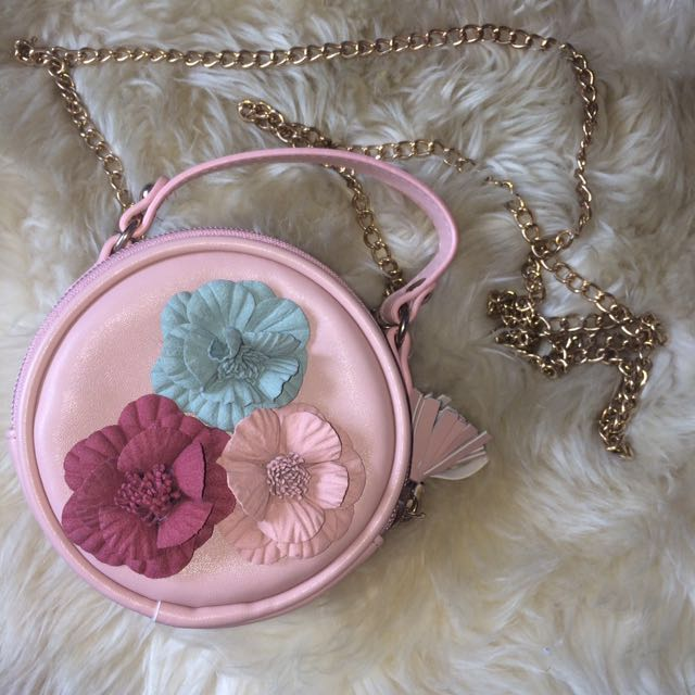 3D Flowers Small Round Sling Bag