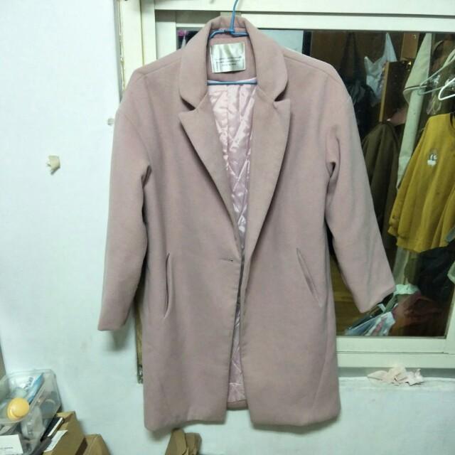 二手藕粉色大衣