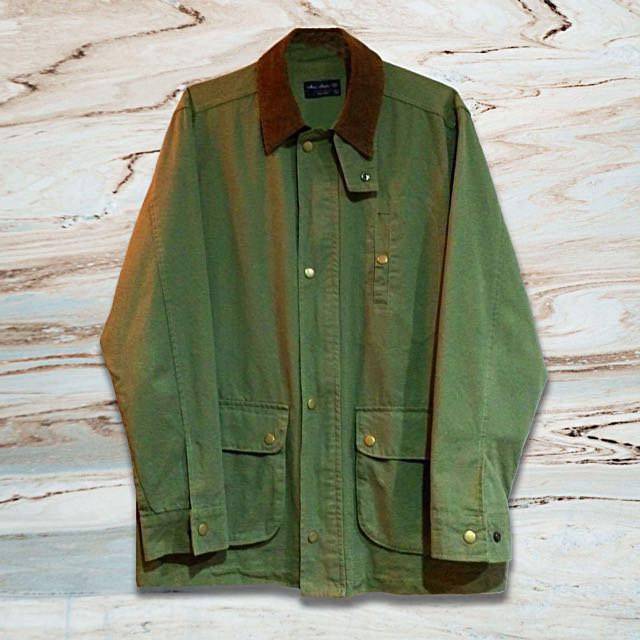軍綠燈芯絨領外套