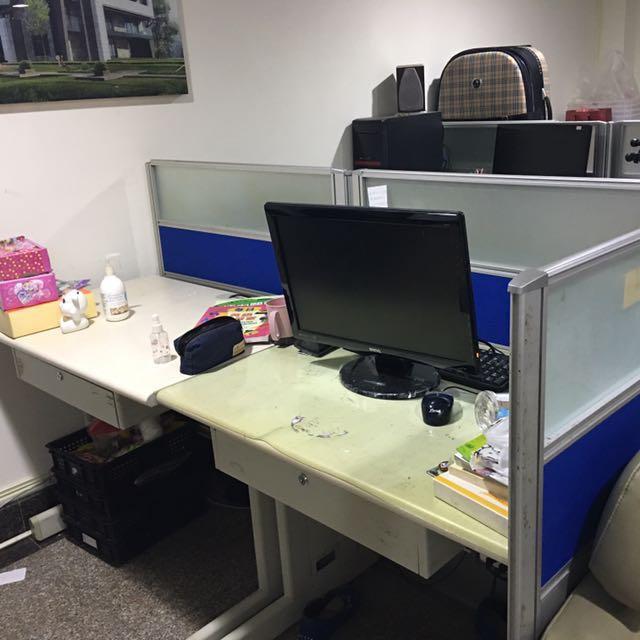 雙人辦公桌含屏風組