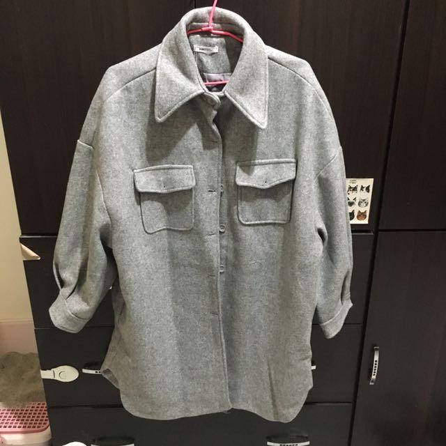 全新厚毛呢混灰襯衫大衣外套