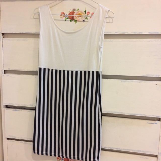 條紋拼接背心裙 短裙
