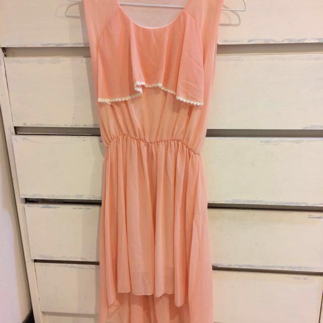 粉橘色雪紡洋裝 謝師宴