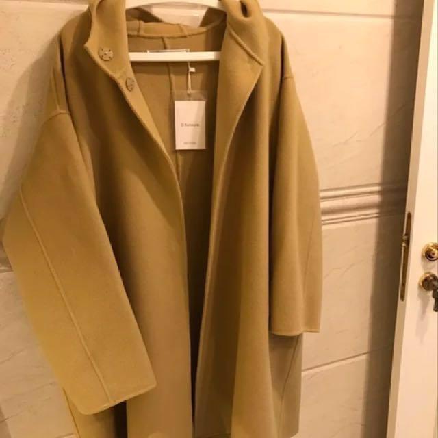 韓版 高端手工羊絨羊毛連帽大衣外套
