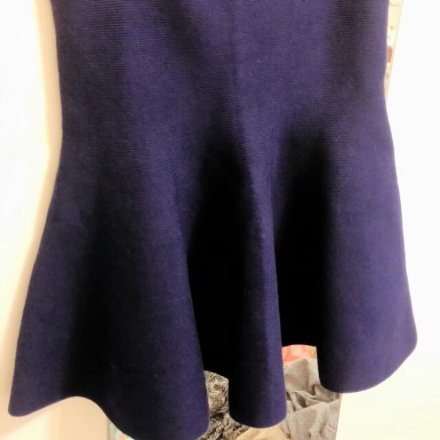 深藍針織太陽裙 全新