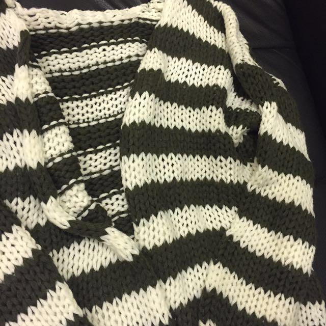 白綠條紋粗棒針織外套 開衫