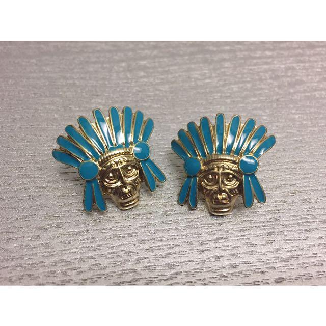 全新 印地安人像 墨西哥 歐美 金色 造型耳環 耳環