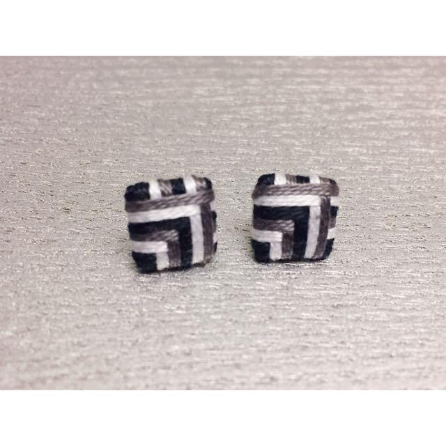 全新 編織 幾何 造型耳環 古著風格 民族 日系 耳環