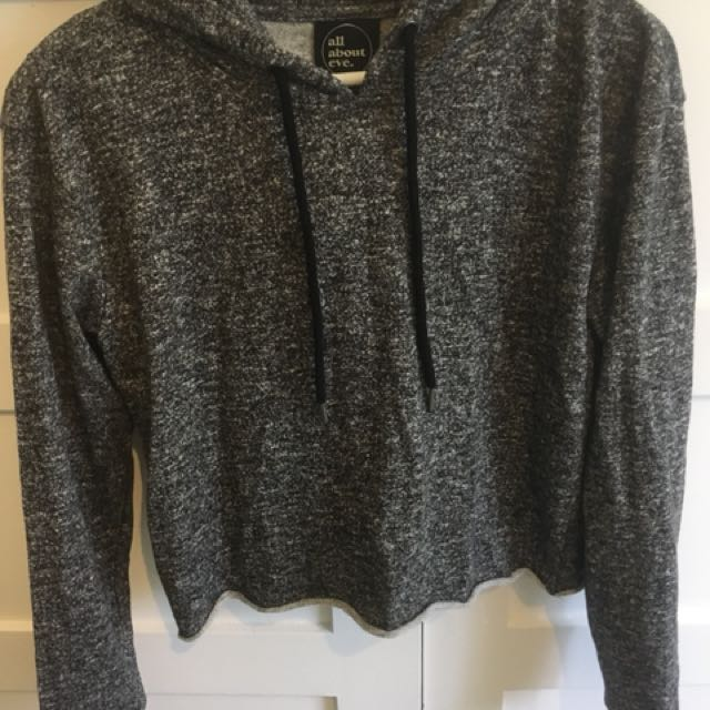 All about eve grey cropped hoodie