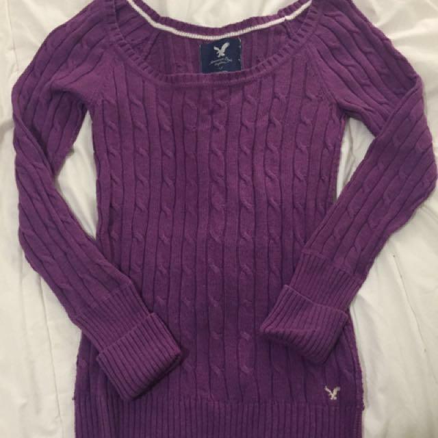 American Eagle Purple Knit Sweater
