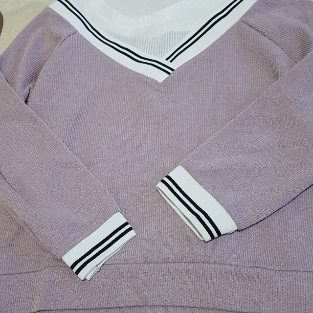 atasan pink model sweater korea