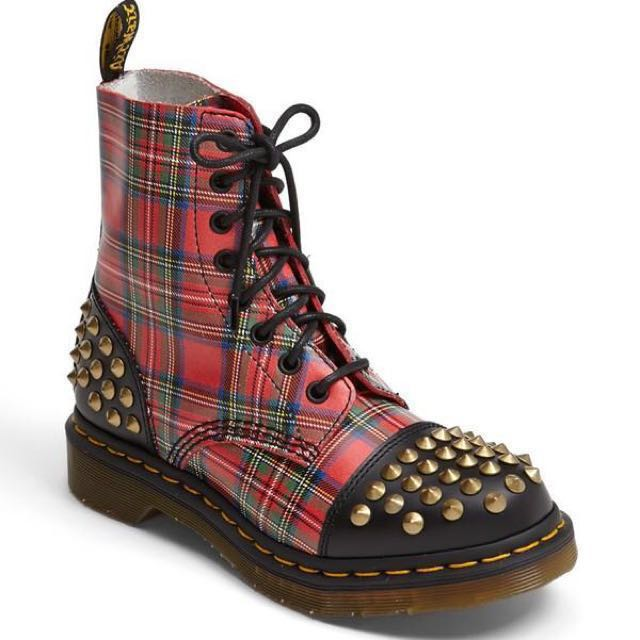 Authentic BN Dr. Martens Red Plaid Studded Boot