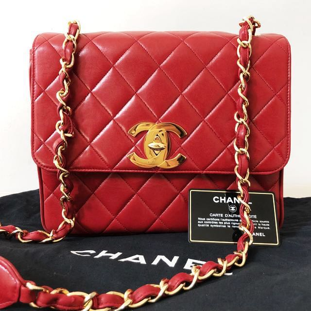 fee24e7caf42 Authentic Chanel Burgundy Red Crossbody Bag in Lambskin and 24k gold ...