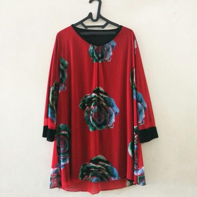 Baju Merah Floral