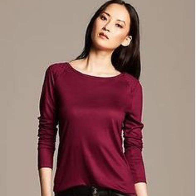 Banana Republic 'quilted whisper T' size S EUC