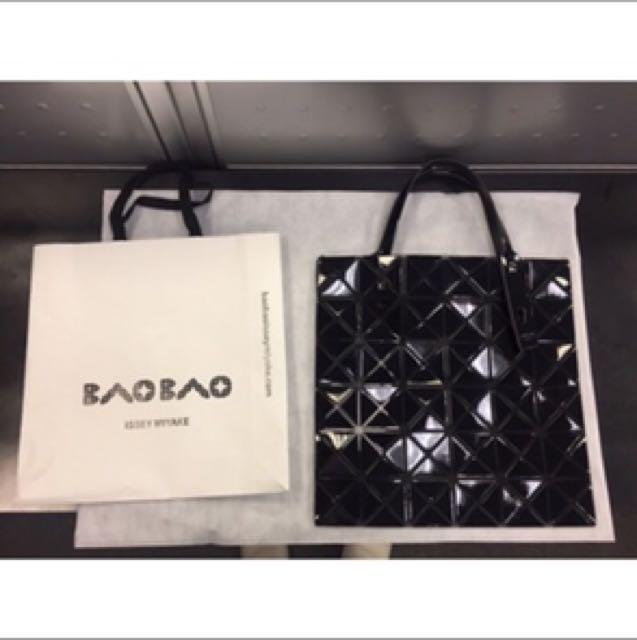 BAOBAO亮面方格6x6透光手提包(黑色/小) 下殺特賣8500