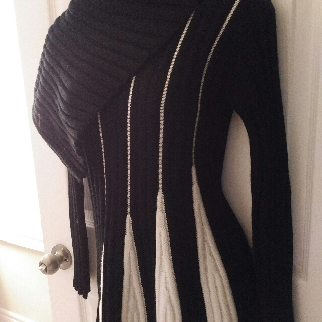 Black/White Sweater Dress Asymmetrical