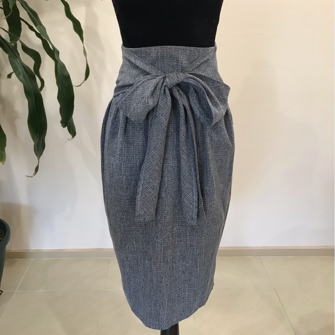 BRAND NEW Marle Grey Ribbon High Waist Skirt with Tags