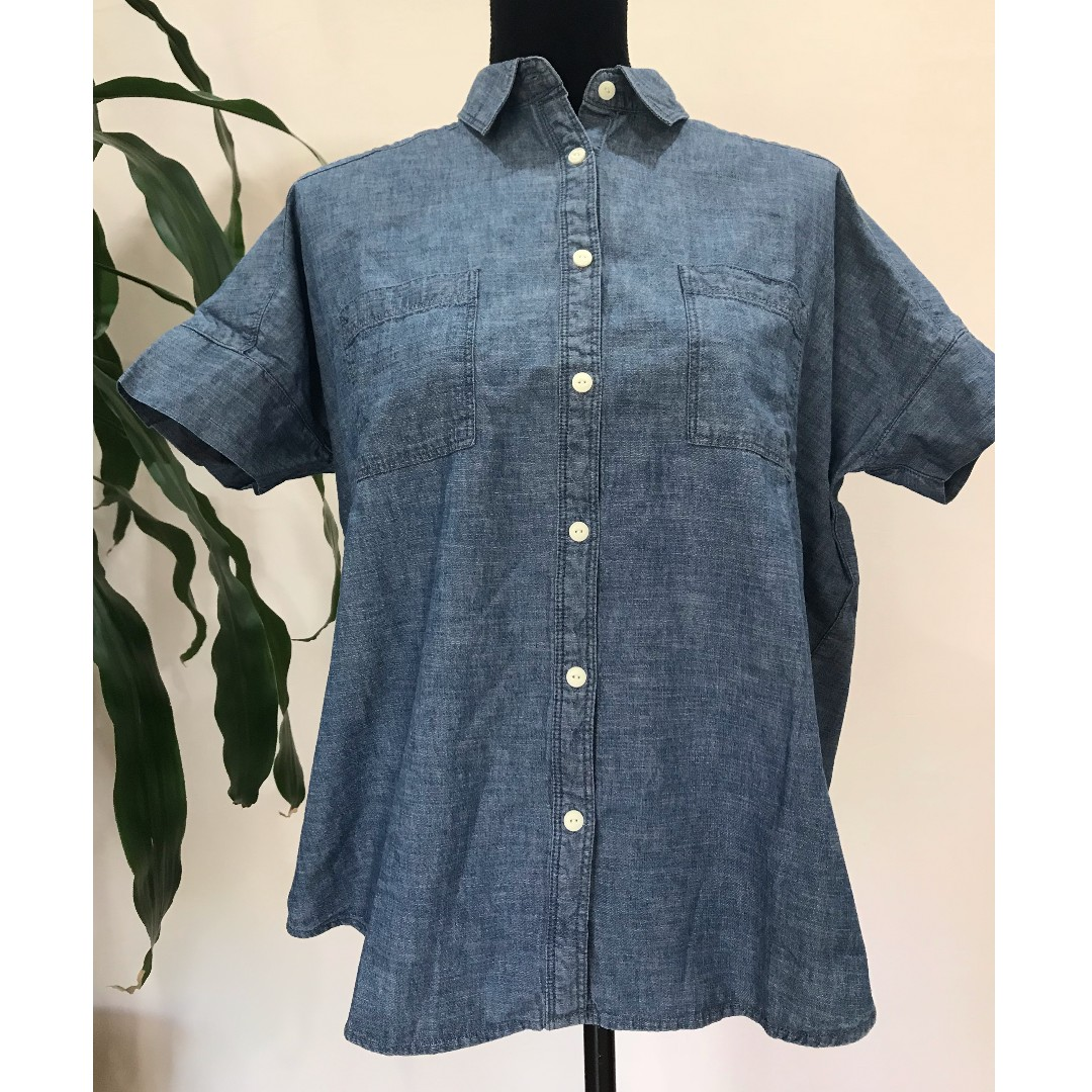 BRAND NEW MUJI 100% Organic Cotton Short Sleeve Chambray Top with Tags