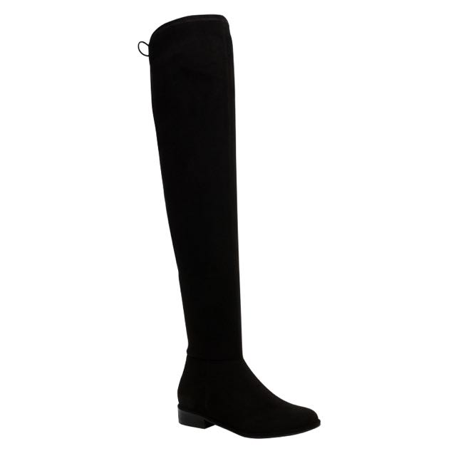 CALLITSPRING Black Leather Over the Knee Boots