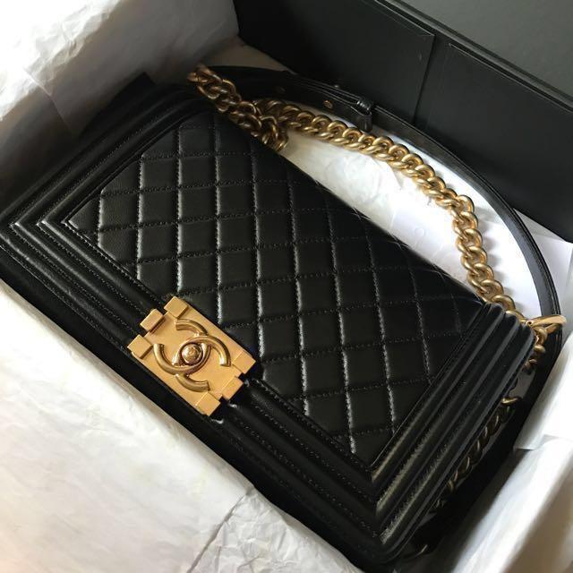 81058b3717 Chanel Boy Old Medium 25cm Black Lambskin GHW  21