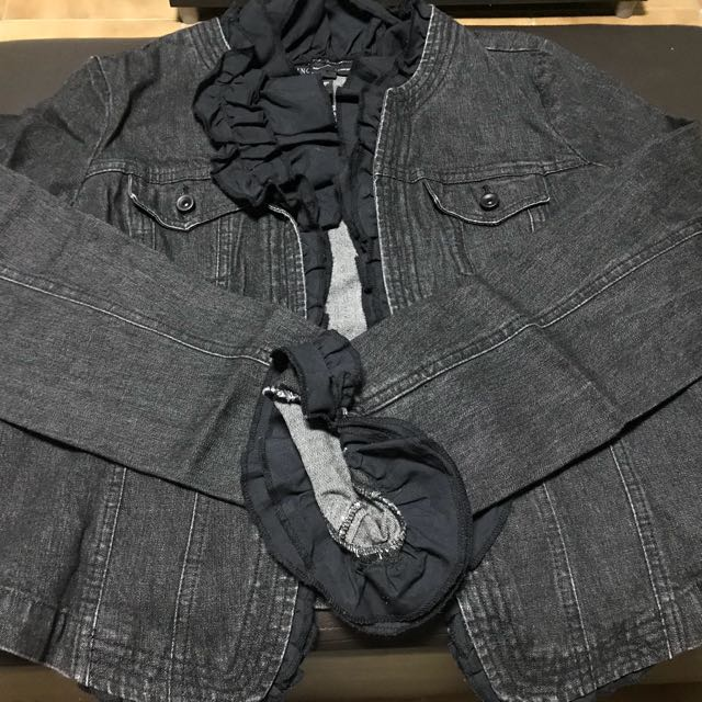 Classic Denim Jacket with Ruffles