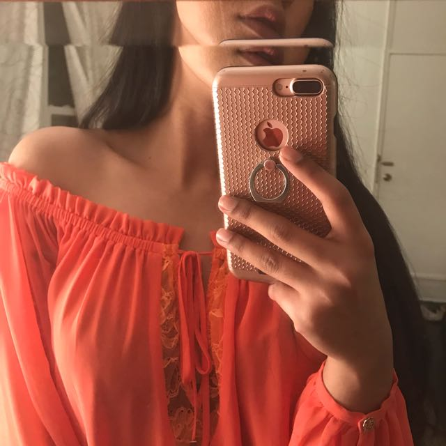 Coral off the shoulder top (Marciano)