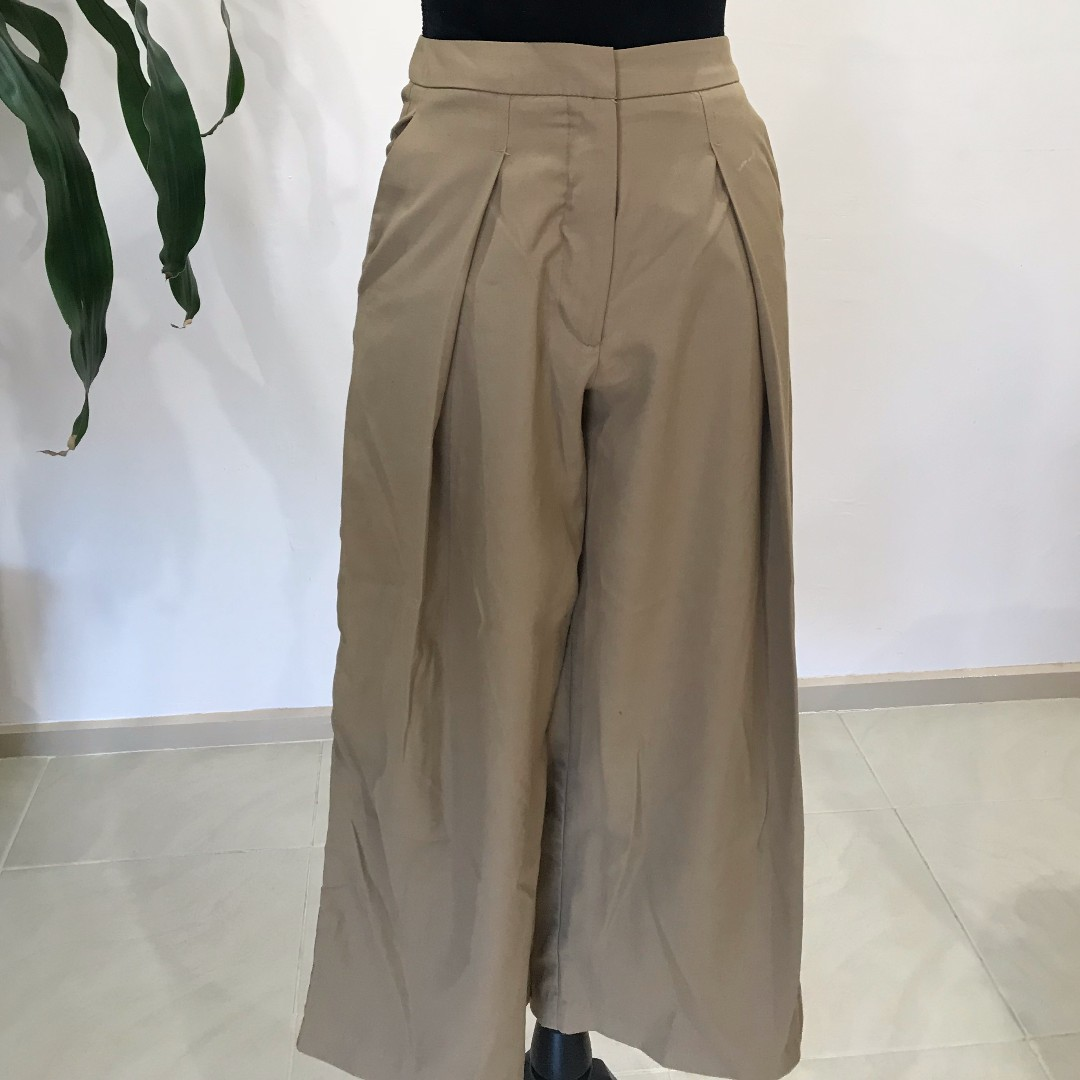 CUTE Beige Fitted Wide Pants