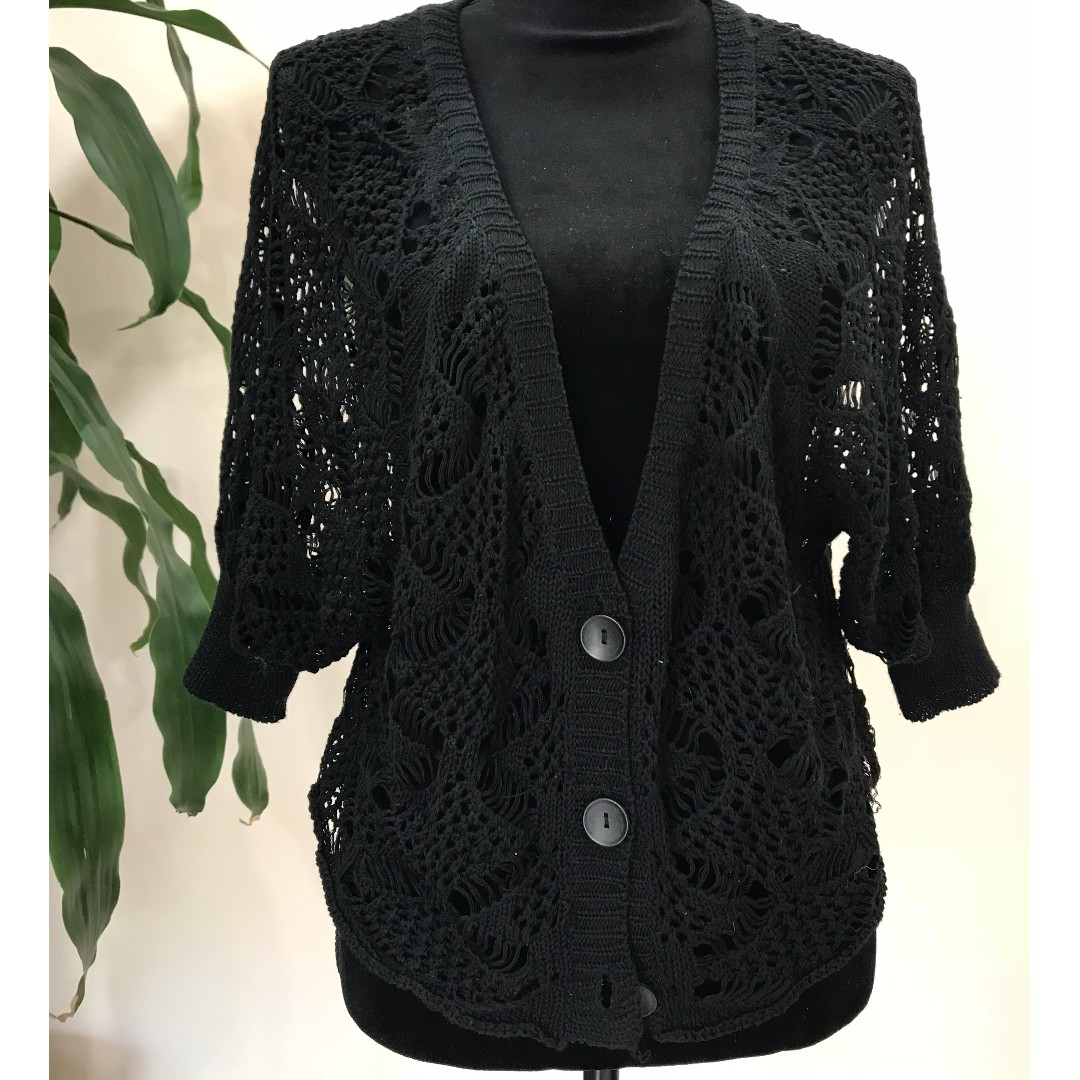 CUTE Navy Knitted Crochet Cardigan (FROM JAPAN)