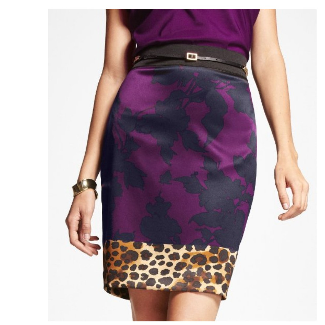 Express Purple Satin Pencil Skirt Floral Leopard Print Office ...
