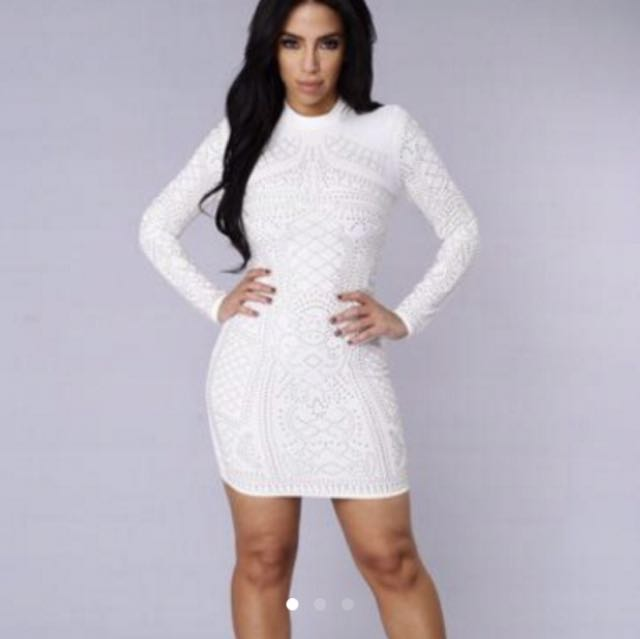Fashion Nova Studded Bodycon Dress Size S